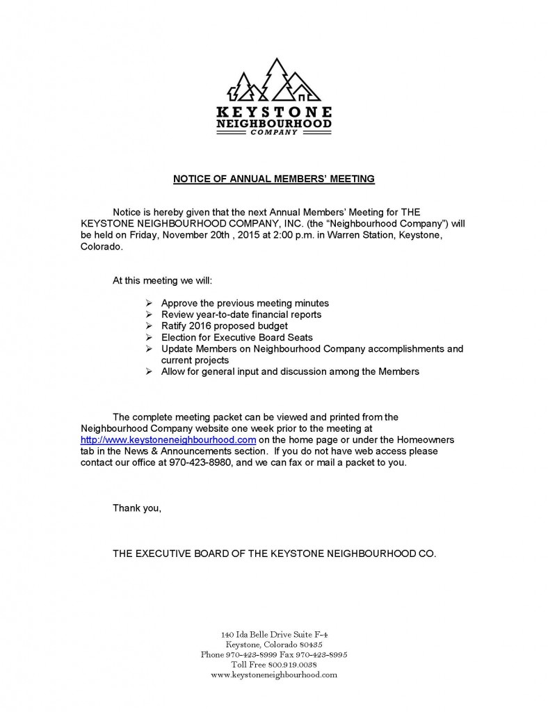 Annual Meeting Notice for Nov 2015