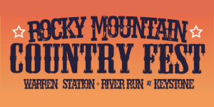"""Rocky Mountain Country Fest at Keystone"" navy blue text orange background"