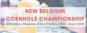 new belgium cornhole championship text over overflowing beer