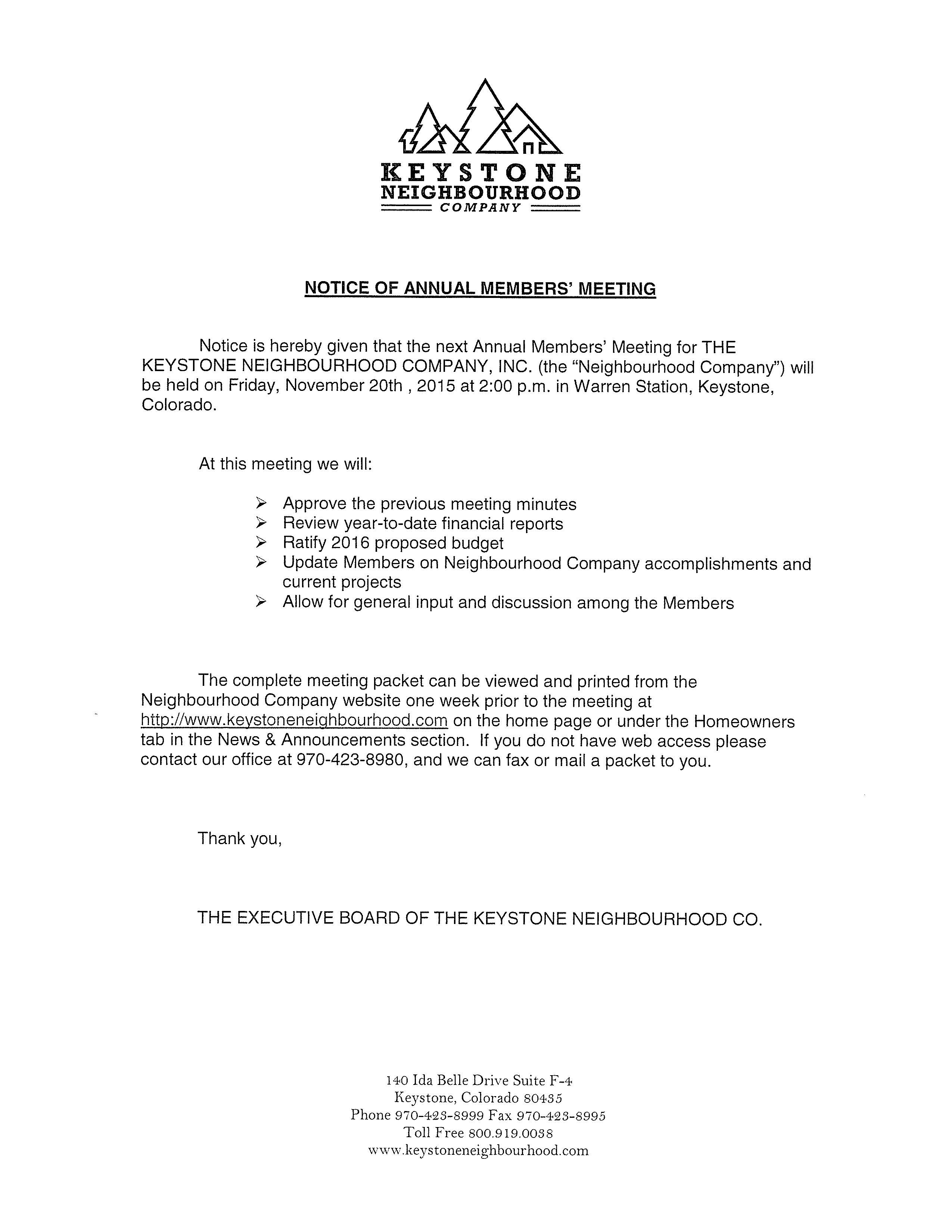 notice of annual members u0026 39  meeting  u0026 call to candidates